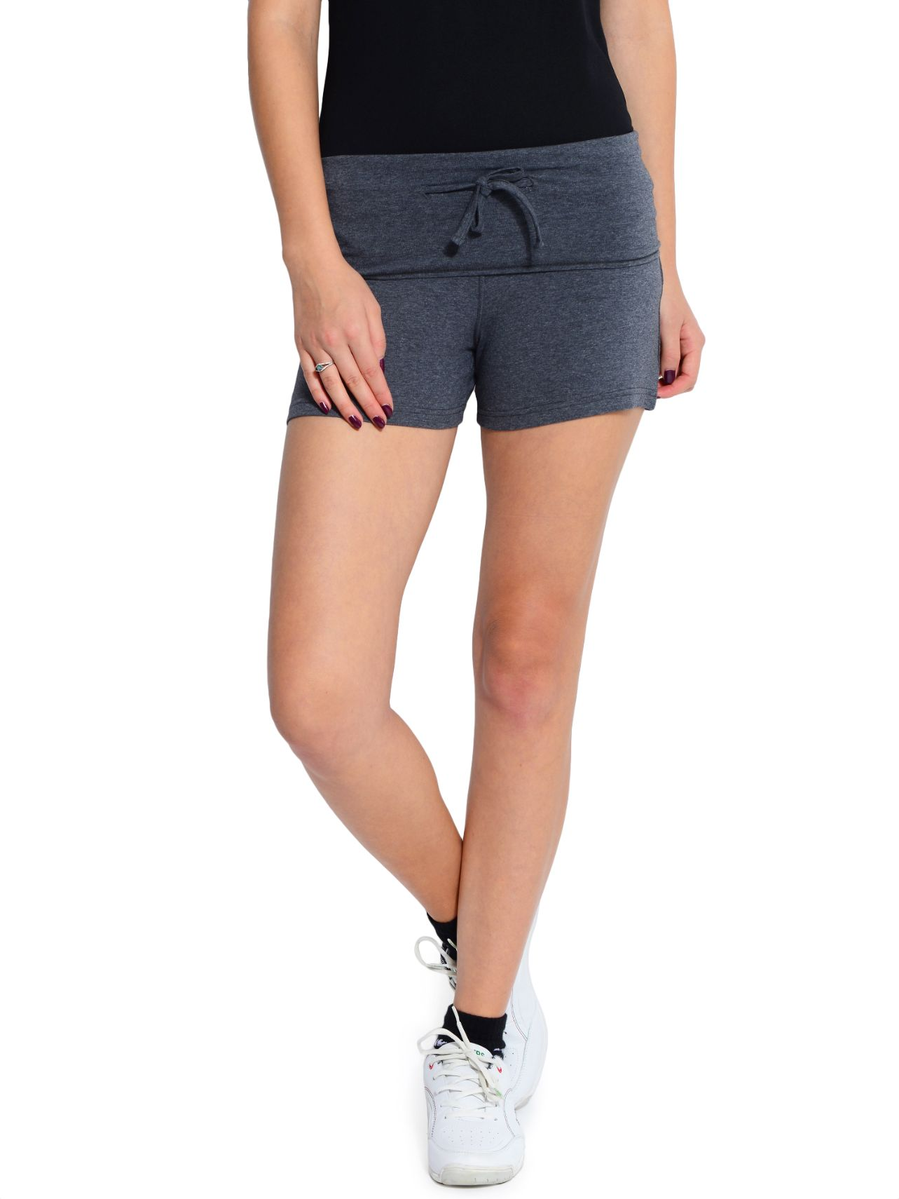 ATIVO Solid Women's Grey Sports Shorts