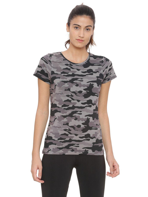 SJ Active Grey Black Camouflage Stretch Tee