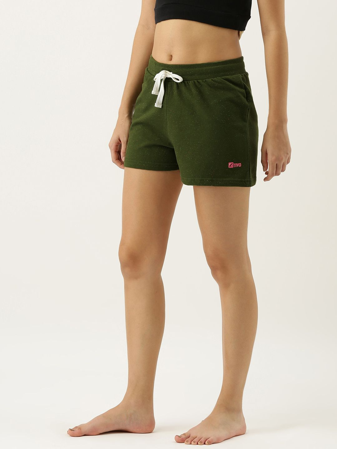 SJ ACTIVE Olive Green Neppy Melange Shorts