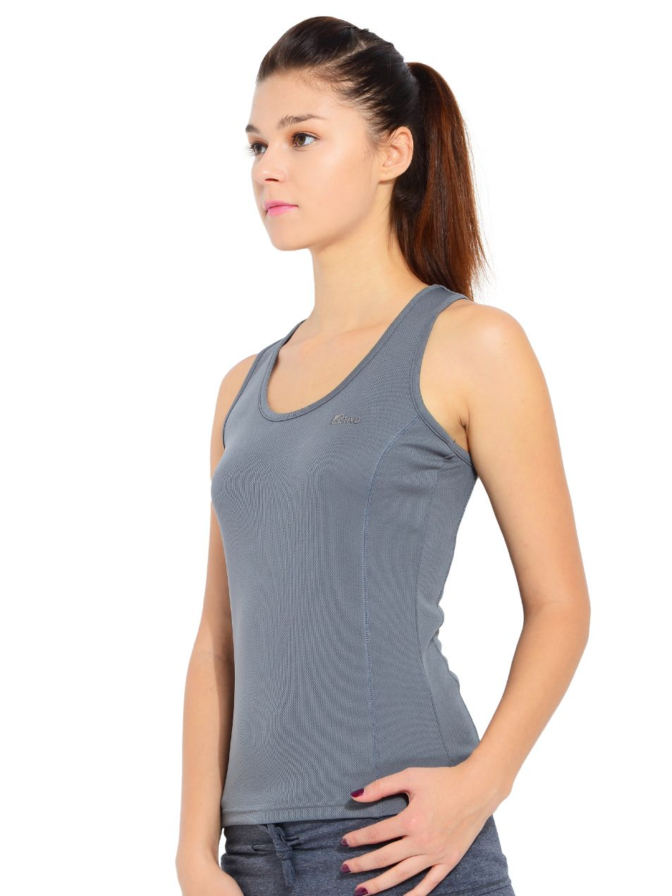 ATIVO Sports Sleeveless Solid Women's Grey Top