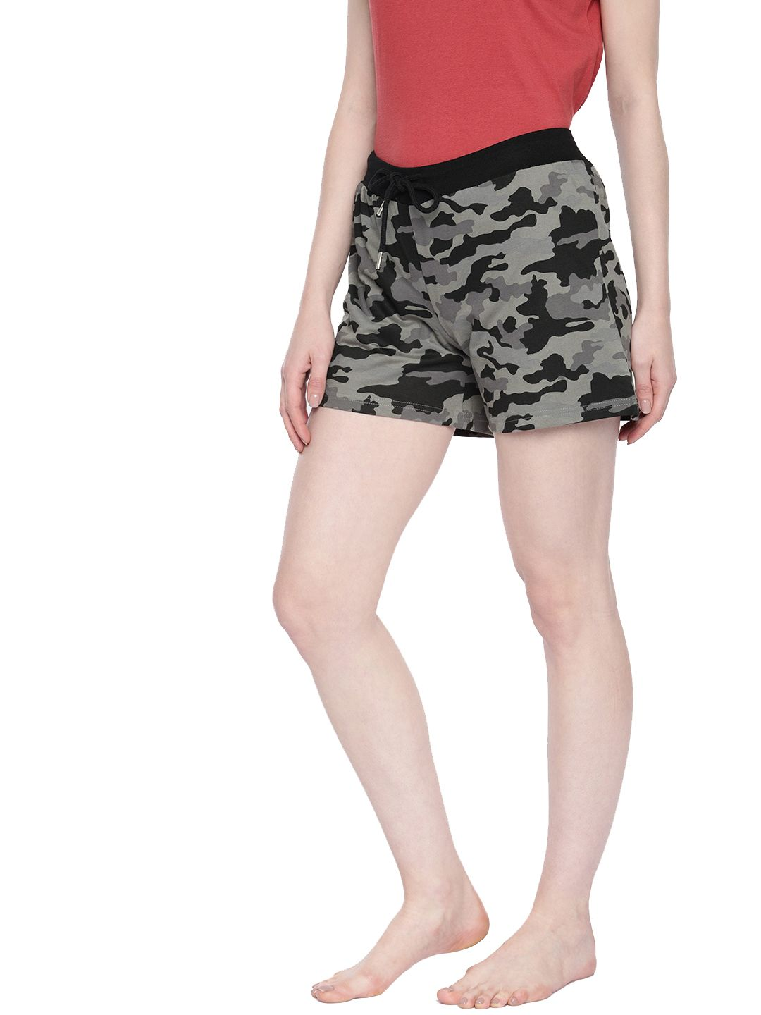 SJ Active Grey Black Camouflage French Terry Shorts