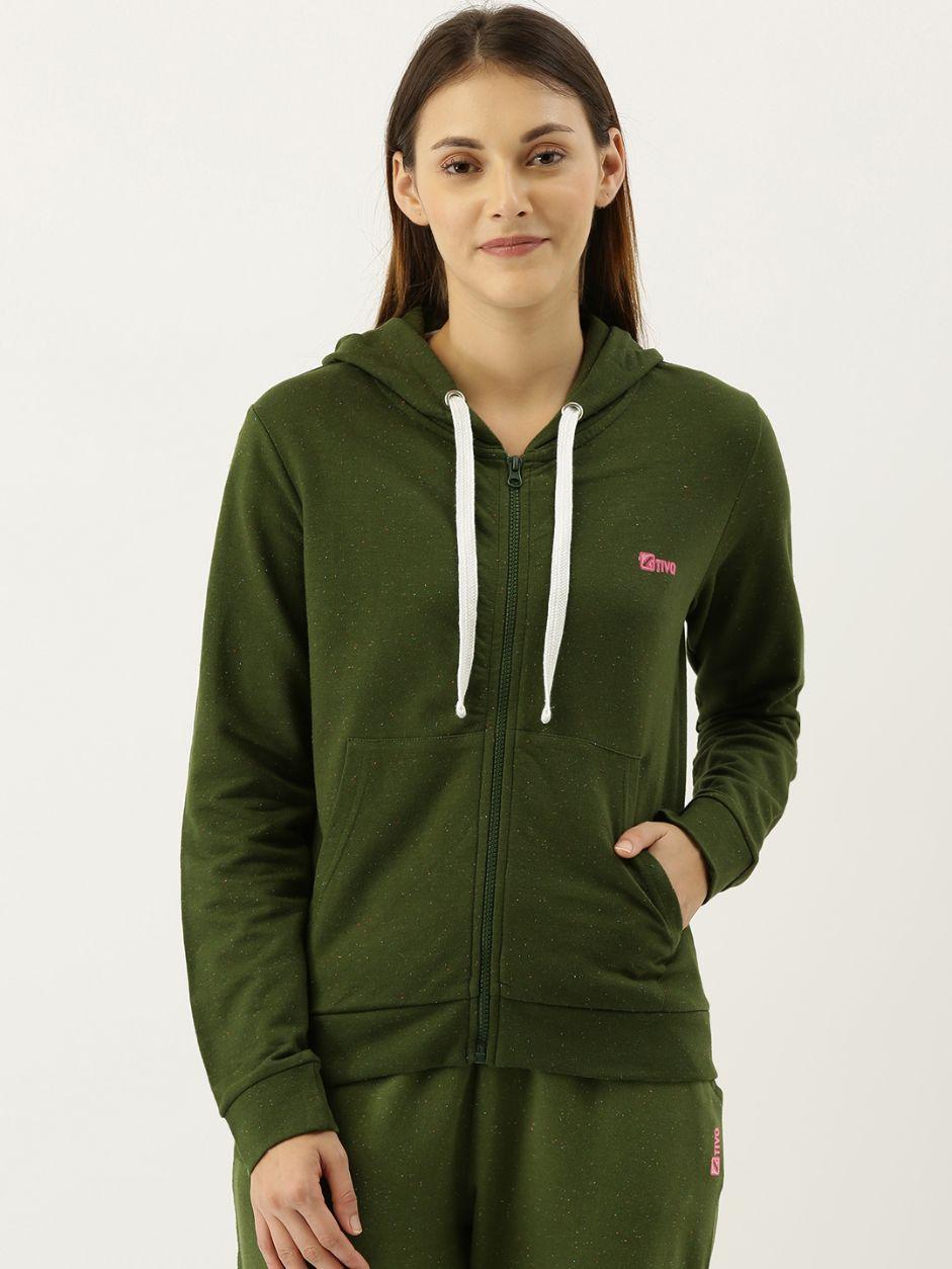 Olive Green Neppy Melange Hoodie