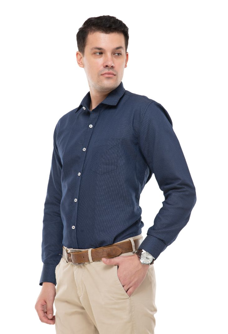 Blue with white dot  shirt has a long sleeves , 1 pocket, spread collar and curved hem-ATM-AU215M