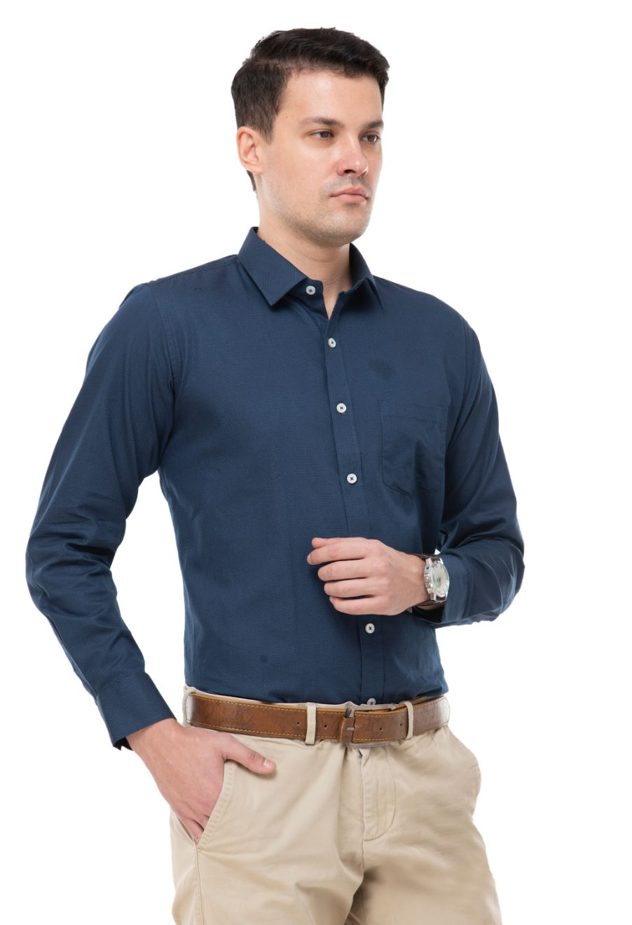 Blue with mustard dot  shirt has a long sleeves , 1 pocket, spread collar and curved hem-ATM-AU218M