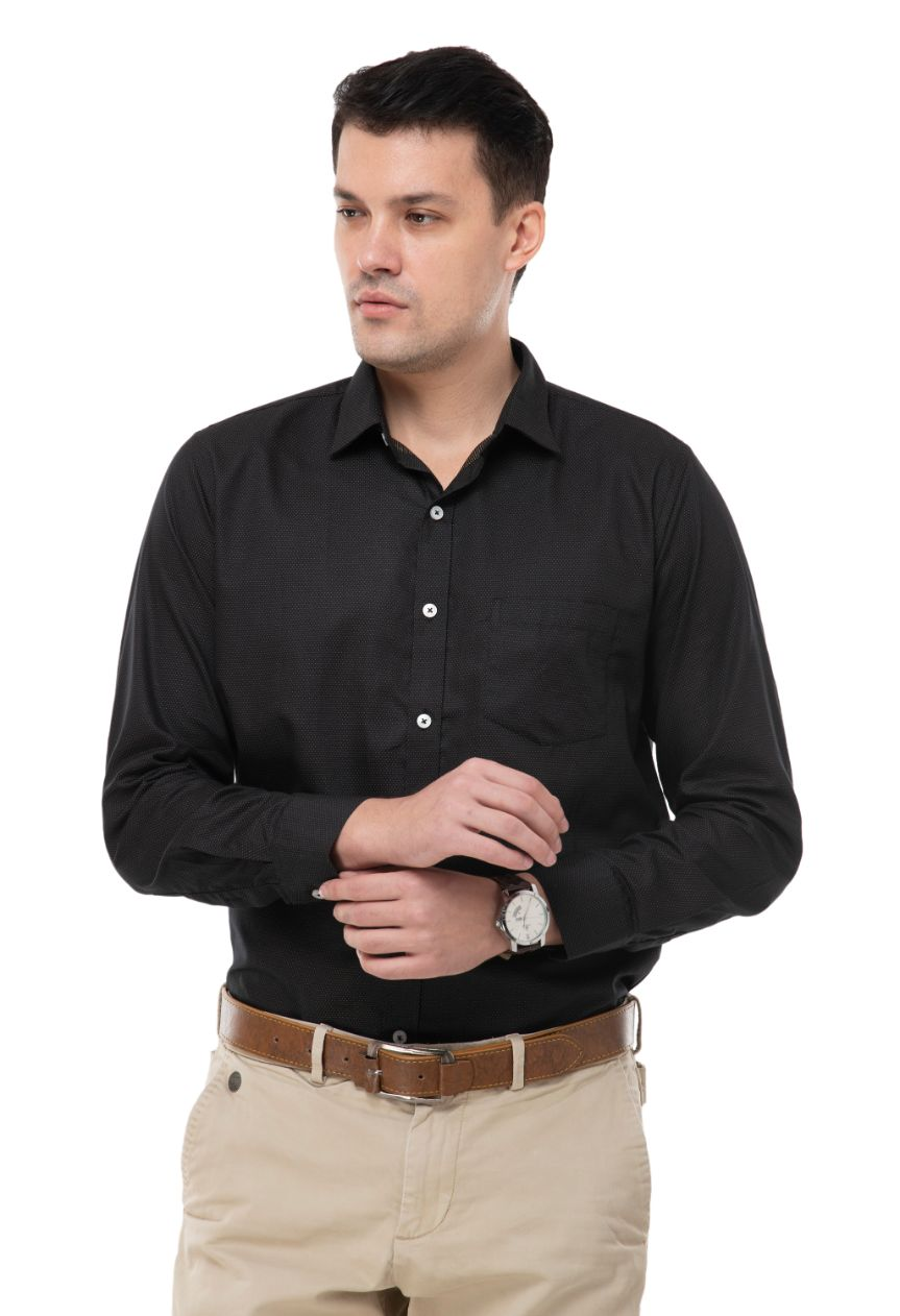 Black with mustard dot  shirt has a long sleeves , 1 pocket, spread collar and curved hem-ATM-AU216M