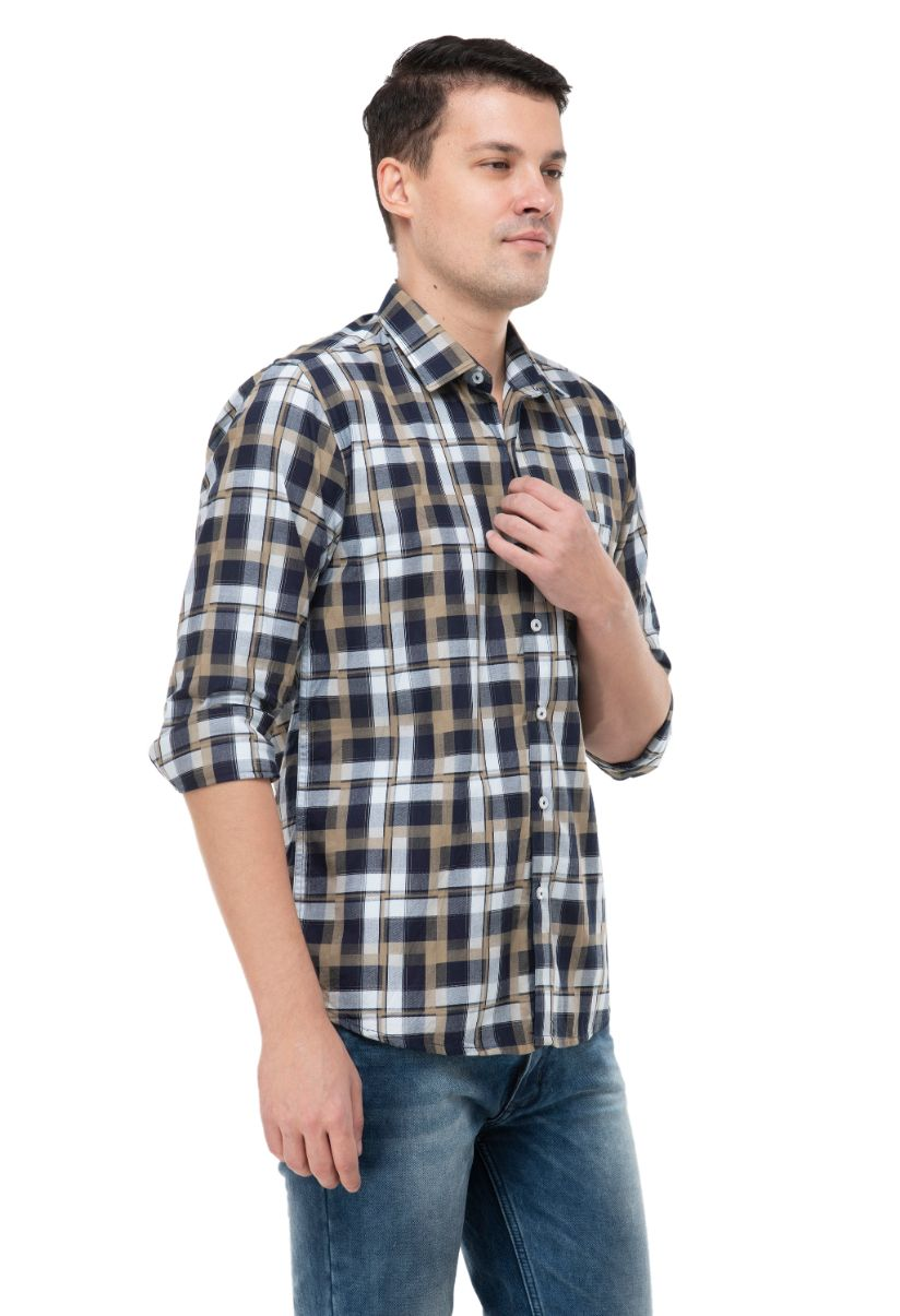 BLACK AND BROWN CHECKERED SHIRT-ATM-AU223M