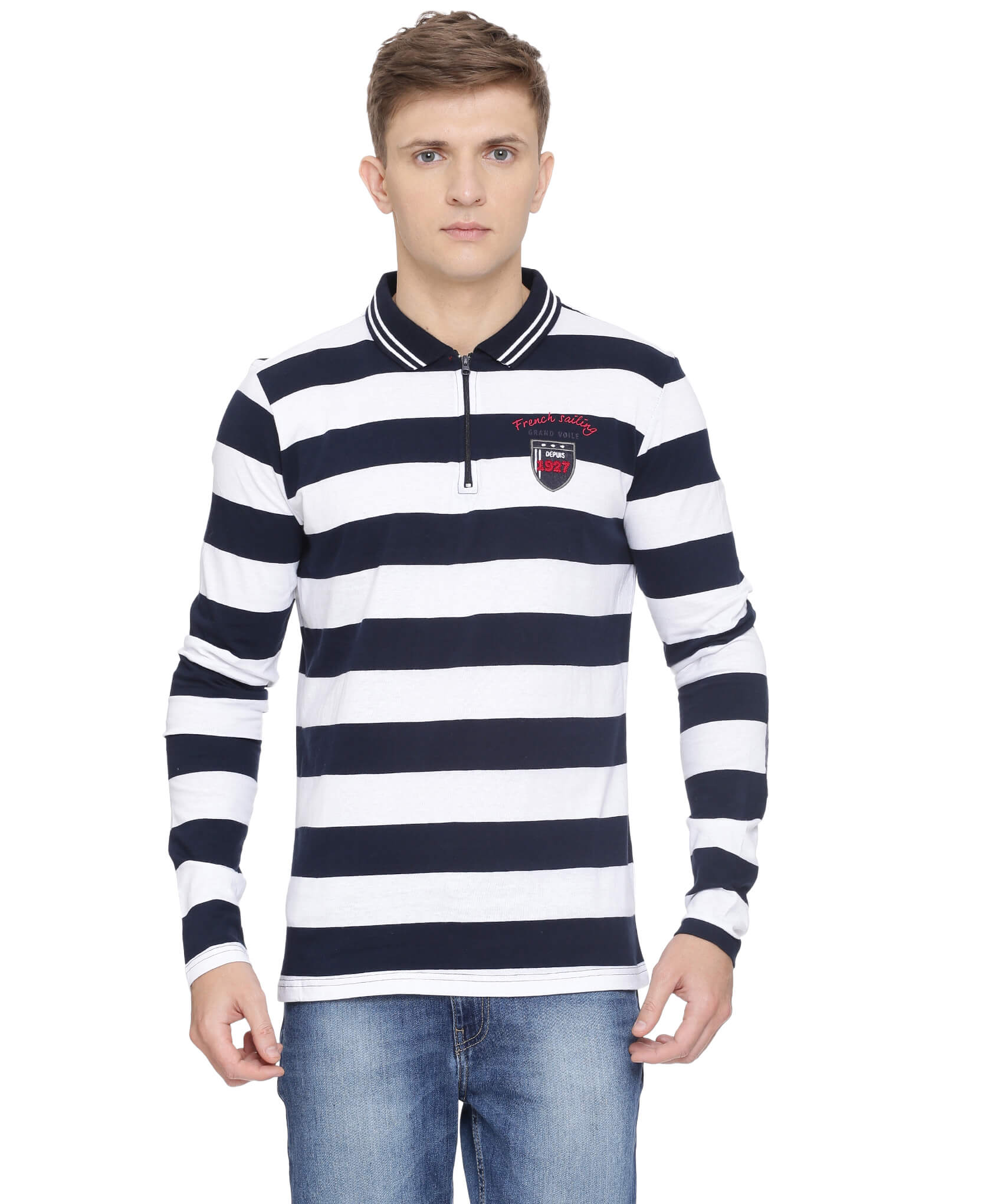 ATIVO-GV Collection Y/D Striped Polo Jersey, L/S