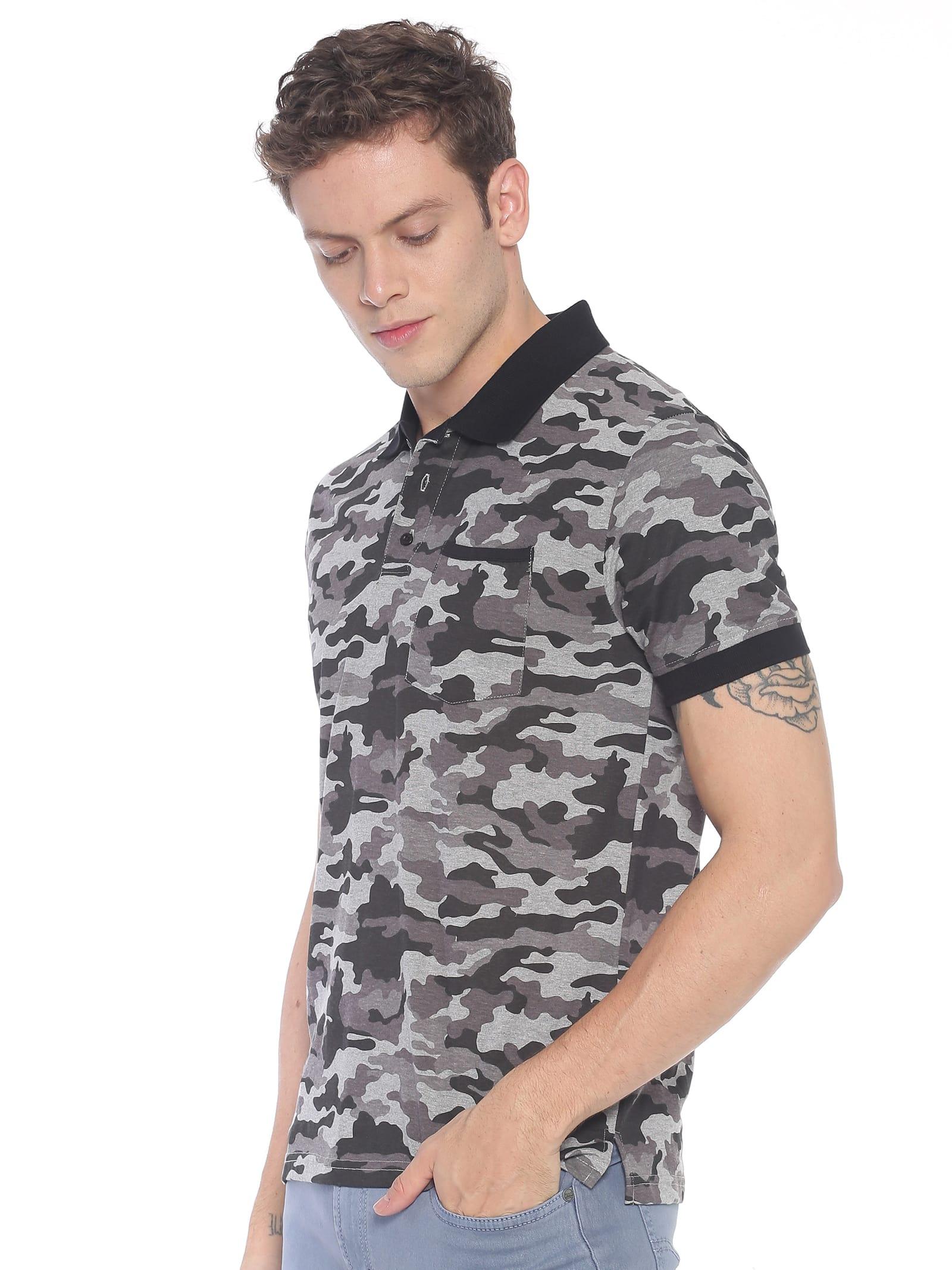 ATIVO Grey-Black Camouflage Polo