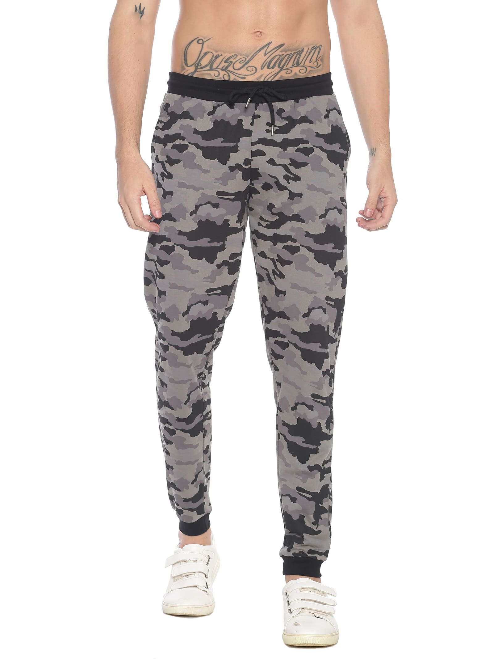 ATIVO Grey-Black Camouflage Joggers