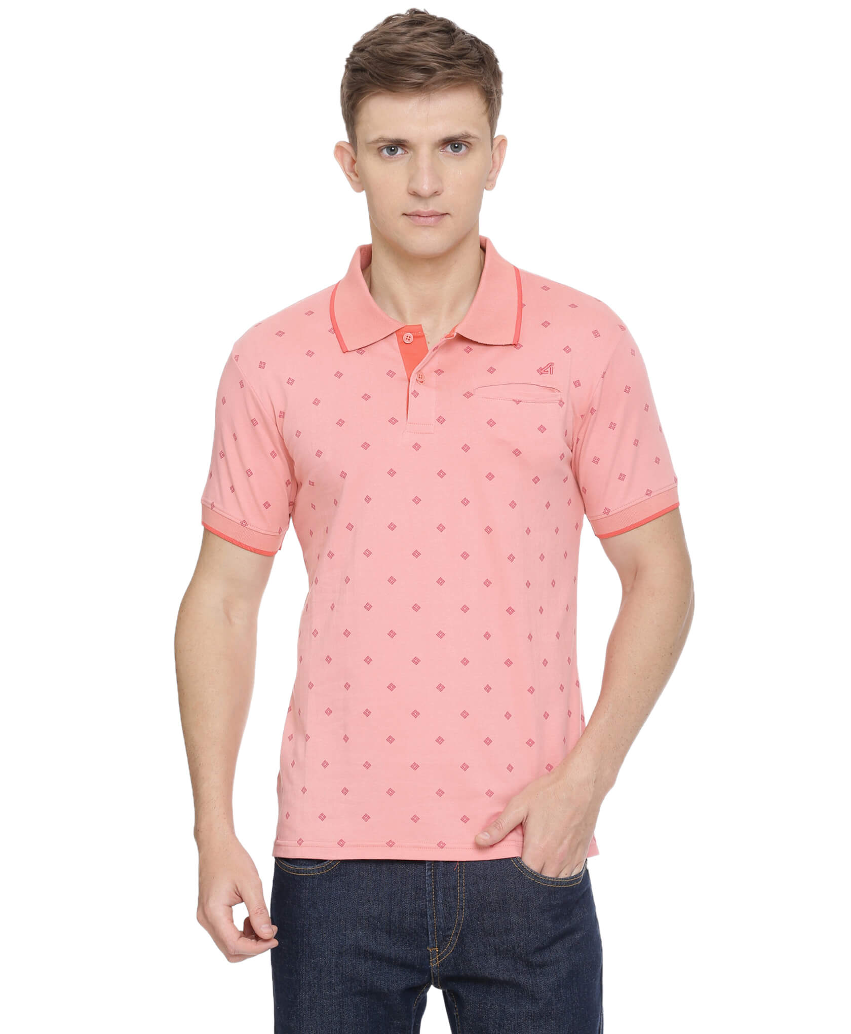 ATIVO Pink AOP Stretch Polo