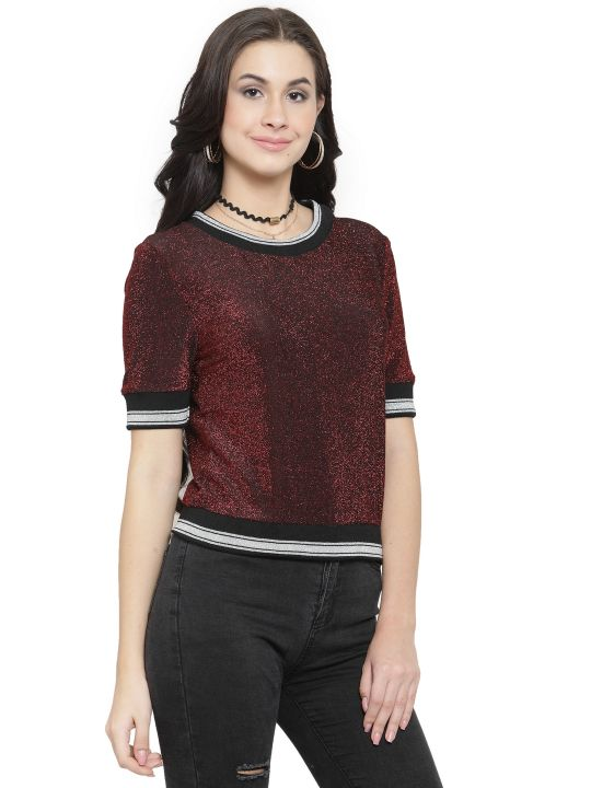 Querida Partywear Bordeaux-Black Short Sleeves Top
