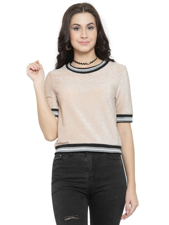Querida Partywear Peach-Silver Short Sleeves Top