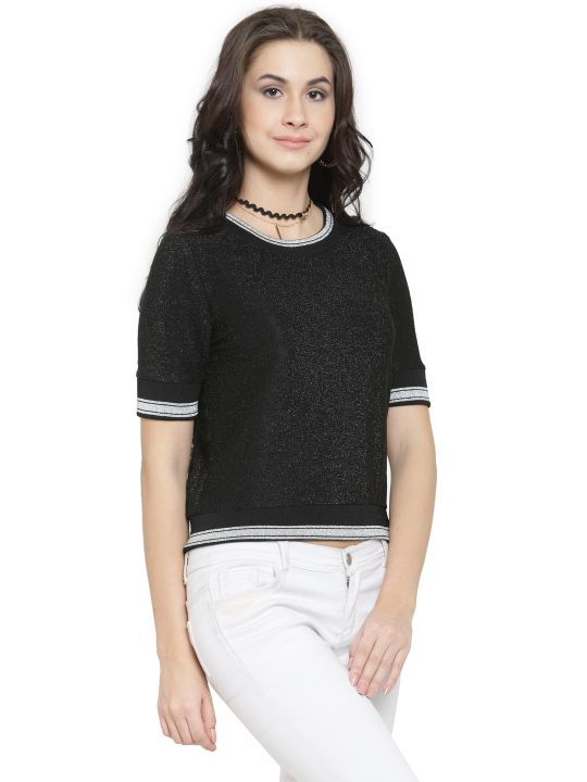 Querida Partywear Black-Silver Short Sleeves Top