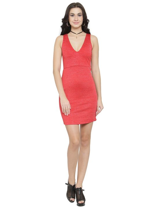 Querida Partywear Red Sleeveless Dress