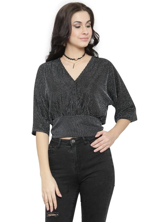 Querida Partywear Black Cross Top